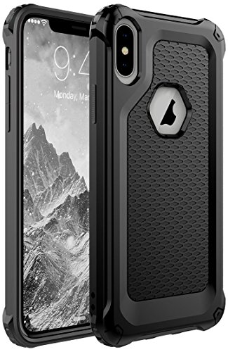 iPhone X Case,Grealthy Heavy Duty Protective Cover [Shock Reduction] Reinforced Corner TPU Bumper Cushion + Scratch Resistant for Apple iPhone X Cover 2017 Release,Black