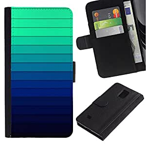 iBinBang / Flip Funda de Cuero Case Cover - Gradiente de color Rayas Azul Verde Luz - Samsung Galaxy Note 4 SM-N910