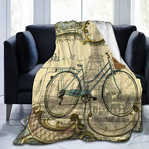 Fleece Plush Throw Blanket Comforter Vintage Bike