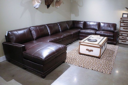 Large leather Oversize sectional 5 pieces vintage top grain dark chocolate