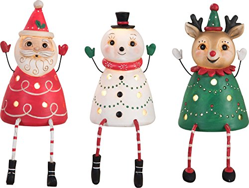 (Transpac Christmas Santa Snowman Reindeer Shelf Sitters Johanna Parker Light Up Figurines )