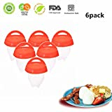 Egg Cooker Hard & Soft Boiled Maker AS SEEN ON TV,Non Stick Silicone Eggs Boiler Cookers without Egg Shell (6 Pack)