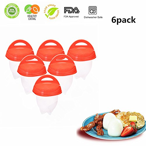 Egg Cooker Hard & Soft Boiled Maker AS SEEN ON TV,Non Stick Silicone Eggs Boiler Cookers without Egg Shell (6 Pack) by ZS-Juyi