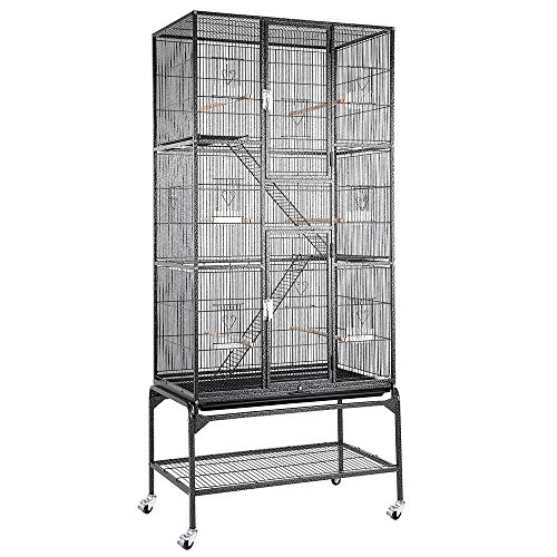 32x18x69 in 3-Story Cockatiel Parrot Bird Cage Stand Black V
