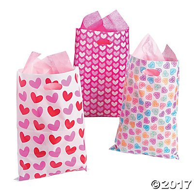 Large Valentine's Day Party Favor Goody Bags - 50 ct