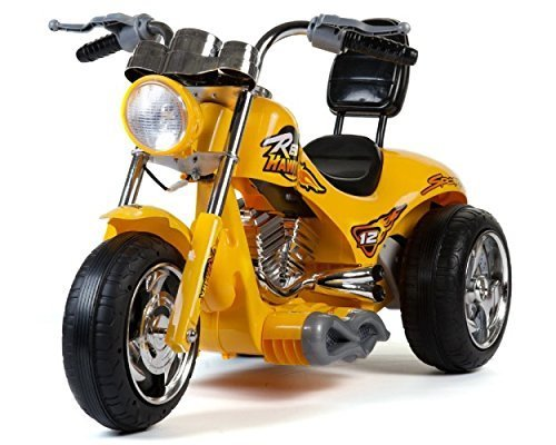 Super Chopper New Red Hawk Motors 12v Kids Ride on Bike / Motorcycle - Yellow (Chopper Mini Kids)