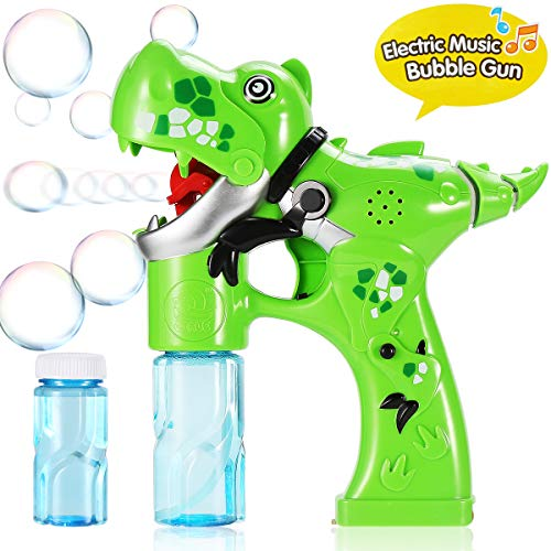 Integrated Wand (Bubble Gun,Dinosaur Bubble Shooter Electric Music Bubble Dispenser for Toddlers Soap Bubble Blower Toy Automatic Bubble Wand with Music & Lights Extra Refill Bottle Bubble Toy for Kids 3+ Years Old)