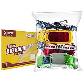 "[Pack of 25] Extra Large Jumbo Big Zip & Lock Freezer Food Storage Bags with Resealable Slider Closure, Big 5 Gallon Size, 18"" x 24"""