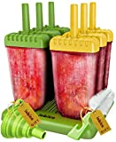 #10: Popsicle Molds Set - BPA Free - 6 Ice Pop Makers + Silicone Funnel + Cleaning Brush + Ice Cream Recipes E-book - by Lebice