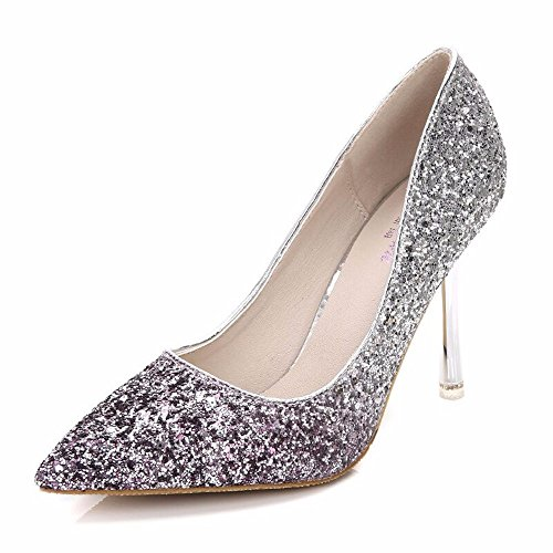 With New Grey Crystal Shoes Shoes Banquet High HXVU56546 Heel Ladies Sequined Fashion ROdIqxT6