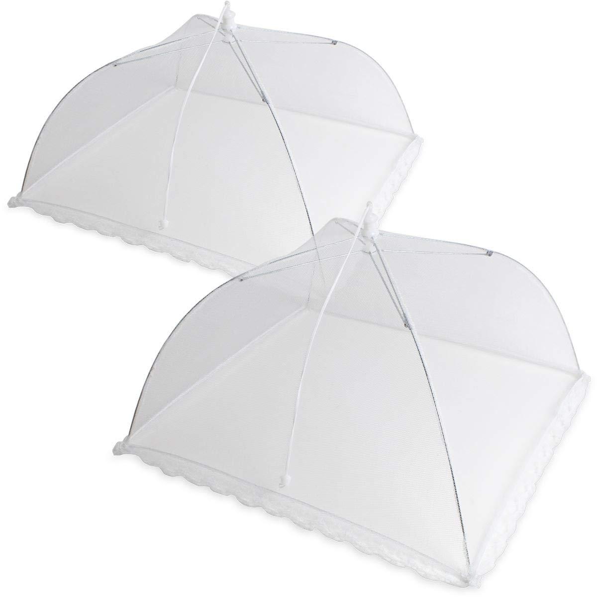 iGadgitz Home U6919 - Food Tent de Malla de Poliéster Mosquitera Comida Plegable Reutilizable - Cubre Alimentos, Pantalla de Insecto - Interior y Exterior - Blanco - 2 Piezas
