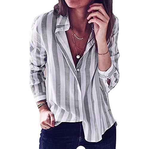 shirt Camicia T Grigio Famesale Righe Maniche Con Lunghe V Scollo Da Donna A x6RwS8