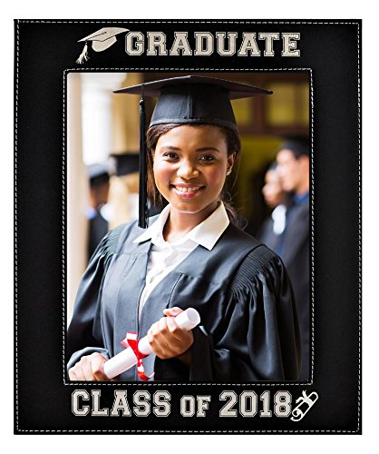GIFT FOR GRADUATE / GRADUATION ~ Engraved Leatherette Graduation Picture Frame ~ Class of 2018 Picture Frame - Elegant Black Frame Engraves in Silver ~ Beautiful Display for Special Graduate (8x10) ()
