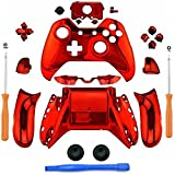 Cheap eLUUGIE Replacement Chome Red Controller Housing Full Shell Set Faceplates for Xbox One Controller with 3.5 mm Jack Xbox One Controller Full Housing Shell Kit with 3.5mm port