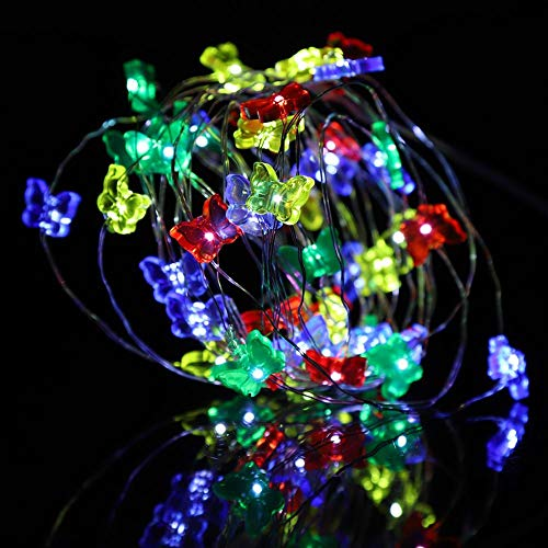 Butterfly String Lights,16.4ft 50 LED Waterproof Battery-Powered Decorative Lights for Party Wedding Christmas Home Room Garden Patio Indoor Outdoor Decorations (Colorful)