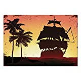 how to paint paneling Large Wall Mural Sticker [ Pirate,Buccaneers Ship Sailing on Mysterious Waters Tropic Palm Trees Grunge Mist,Yellow Black Coral ] Self-adhesive Vinyl Wallpaper / Removable Modern Decorating Wall Art