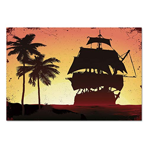Large Wall Mural Sticker [ Pirate,Buccaneers Ship Sailing on Mysterious Waters Tropic Palm Trees Grunge Mist,Yellow Black Coral ] Self-adhesive Vinyl Wallpaper / Removable Modern Decorating Wall Art