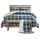 Comfort Spaces Aaron Sherpa Comforter and Throw Combo Set, Ultra Softy Fluffy Warm Checker Plaid Pattern Cold Weather…