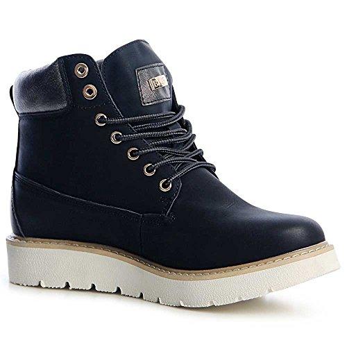 topschuhe24 1257 Damen Worker Boots Stiefeletten Platau Derby Schwarz