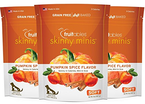 Soft Mini Chews (Fruitables Pack of 3 Skinny Minis Pumpkin Spice 5 Ounce Soft and Chewy Dog Treats (15 Ounces Total))