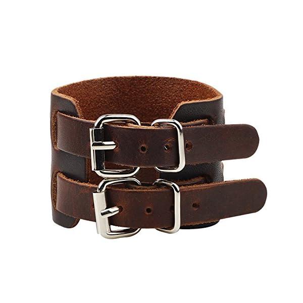 Yel and Elf Leather Bracelet for Men Women Punk Rock Double Belt Buckle Wide Cuff Bracelet Adjustable 4
