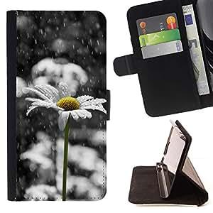 For Sony Xperia Z2 D6502 Case , Margarita blanca triste Hermoso Negro- la tarjeta de Crédito Slots PU Funda de cuero Monedero caso cubierta de piel