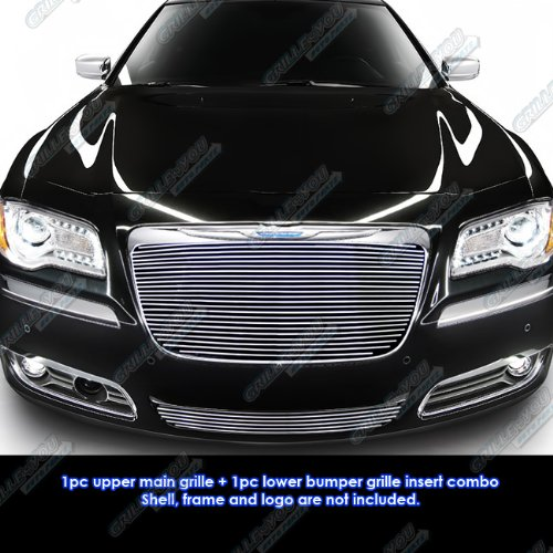 (APS Fits 2011-2014 Chrysler 300/300C Billet Grille Grill Insert Combo)