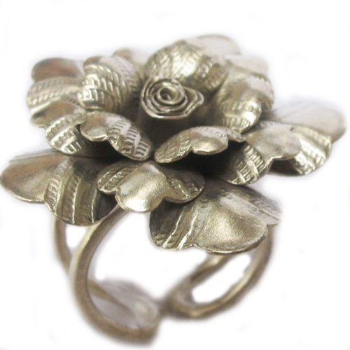 """""""Most Welcome Free Shipping"""" """" GENUINE WEIGHT 11.66 G. PURE 99.5% FLOWER ROSE THAI KAREN HILL TRIBE SILVER RING SIZE NO.8 BY HAND MADE ADJUSTABLE 8-10 {KAREAN HILL TRIBE BOX 8-101"""