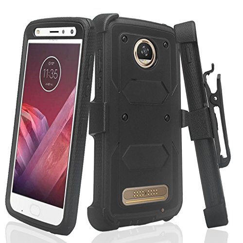 COVERLABUSA Comptiable for Moto Z2 Force Case, Moto Z2 Play Case [Built In Screen Protector] Heavy Duty Full-Body Rugged Holster Armor Case [Belt Swivel Clip][Kickstand] - (Black)