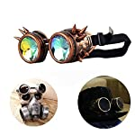 T&B New Colored Diamond Lens Vintage Steampunk Goggles Glasses Welding Cyber Punk Black 13