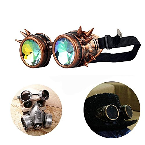 T&B Vintage Steampunk Goggles Glasses Bling Lens Spiked Cyber Punk Gothic COSPLAY PARTY Rivets Rainbow Crystal Lenses Halloween (Brass Frame colorful lenses) ()
