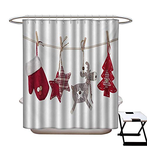 Christmas Shower Curtains Mildew Resistant Traditional Xmas Celebration