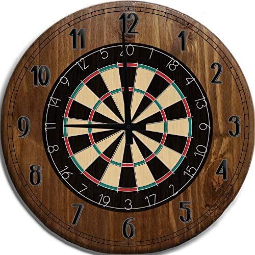 Mnk Large Wall Clock 24 Inch Wireframe Dart Board Bar Sign Home D cor Brown Wall Decor