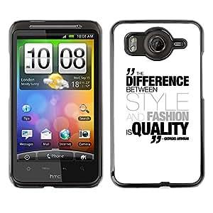 Qstar Arte & diseño plástico duro Fundas Cover Cubre Hard Case Cover para HTC Desire HD / G10 / inspire 4G( Differenece Style Fashion Quality Quote Armani)