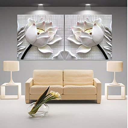 Modern D White Lotus Definition Pictures Canvas Home Decoration Living Room Wall Modular Painting Print Cuadros