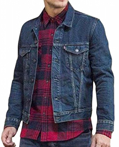 Jeans Washed Down Denim Fit UK Coat Dark Button Men's Jacket Slim Blue Jacket today 6Bx1zp