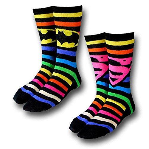 Batman-Superman-Crew-Socks-2-Pack-Rainbow