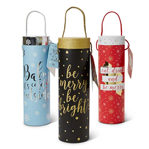 - Paper Wine Bottle Gift Bags: Tri-Coastal Design Reusable Christmas Present Bag with Handles and Gift Tag - Single Bottle Wine, Beer or Liquor Tote with Festive Holiday Design - 3 Pack Assorted Bags