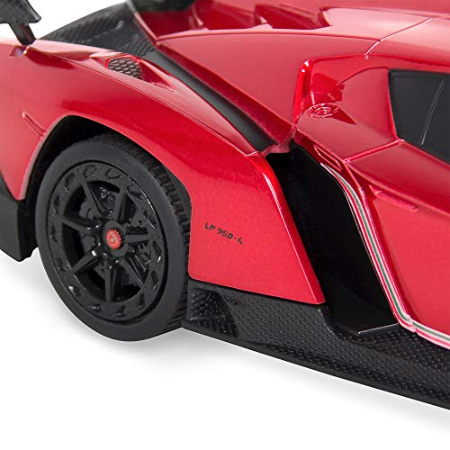 Best Choice Products 1:24 Scale Kids Licensed RC Lamborghini Veneno Car, Head and Taillights, Red
