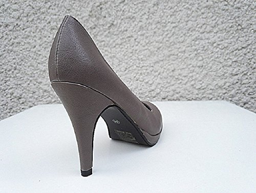 FY8012 Chaussure Escarpin a Femme fashionfolie Haut Aiguille Cuir Simili Plateforme Talon Taupe xvBwWHq0g