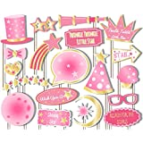 Girl Twinkle Little Star Pink Photo Booth Props Kit - 20 Pack Party Camera Props Fully Assembled