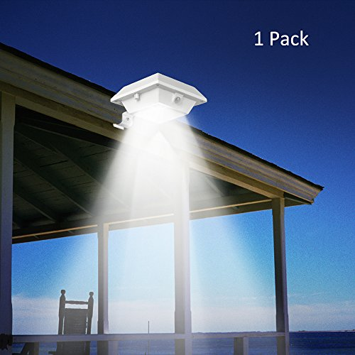 Solar Gutter Lights, T-SUNRISE 6 LED Beads Solar PIR Motion Sensor Security Wall Light for Outdoor Garden,Fence,Dog House,Tree,Outside Garage Door,Stairs Anywhere Safety Lite with Bracket (1 Pack) (Patio Lite 1 Door 2)