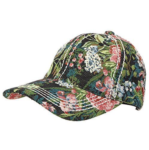 Funky Junque's Vintage Floral Tapestry Stitch Baseball Hat with Leather Closure (Hat Tapestry)