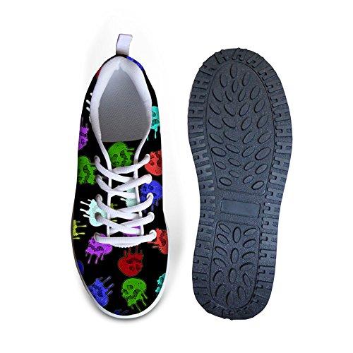 Câlins Idée Mode Punk Crâne Impression Plate-forme Chaussures Pour Femmes Skull13