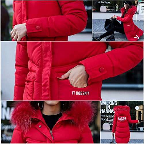 Size Hood Coat Faux Thick Parkas Line Fur Red A Quilted Women Plus COMVIP qpwHAaEzx