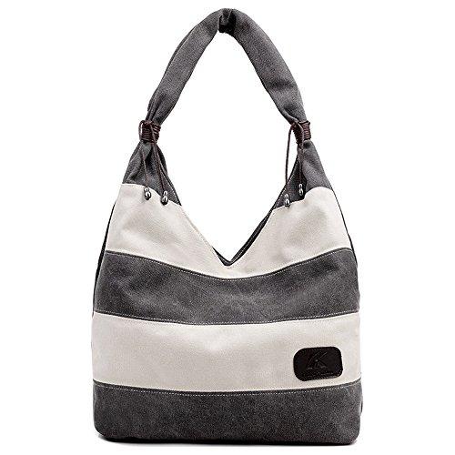 Hiigoo Stripes Stitching Canvas Bags Casual Shoulder Bag Large Shopping Bag Handbags (Grey) Casual Purse