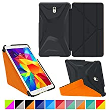 """roocase Samsung Galaxy Tab S 4 8.4 Case - Origami 3D [Granite Black / roocase Orange] Slim Shell 8.4-Inch 8.4"""" Smart Cover with Landscape, Portrait, Typing Stand"""