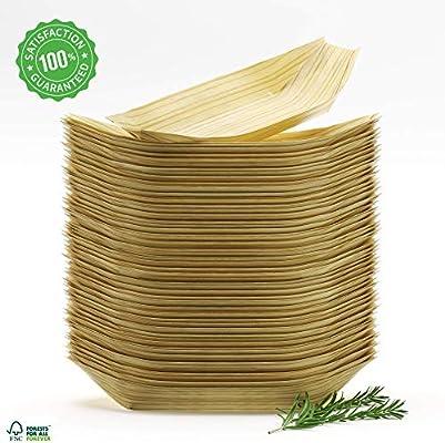 Platos Bambu Cuencos Desechables Bol de Madera Vajillas Naturales ...