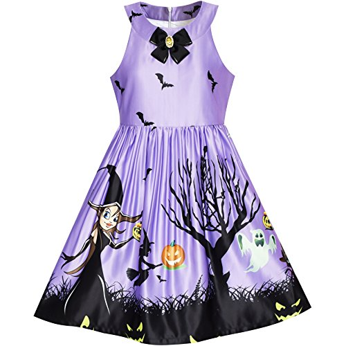 LK71 Girls Dress Halloween Witch Bat Pumpkin Costume Purple Dress Size 7 (Dresses For Young Girls)