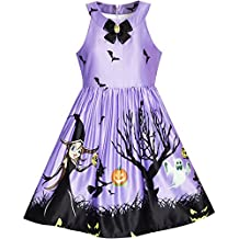 Sunny Fashion Girls Dress Halloween Witch Bat Pumpkin Costume Halter Dress